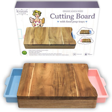 Cutting Board - Organic Acacia Wood Chopping Board with 2 Meal Prep Containers -