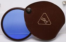 Rare 1920's - Bauch & Lomb Bakelite Blue Filter In Leather Flip Holder Case