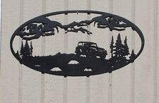 Jeep and Mountains Oval Scene Metal Wall Art Home Decor