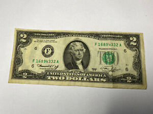 banknote USA dollars two-dollar bill note AUTHENTIC 1976 SERIES rare unusual