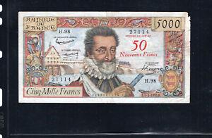 Billet Surchargé 50 NF/5000 Francs Henry IV 05/03/59 TB Fay 54-02