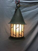 Vtg Arts Crafts Copper Porch Ceiling Light Fixture Leaded Glass Old 486-18E