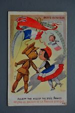 R&L Postcard: Patriotic English Kiss of Stoic France Knitted Toy Soldier Doll