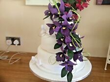 HAND MADE SUGAR ORCHIDS TRAILING 2 SPRAYS IN DARK PURPLE,ALSO IN Other COLOURS