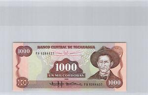 Nicaragua 1000 Cordobas 1985 N° Fa 6364637 Pick 156a