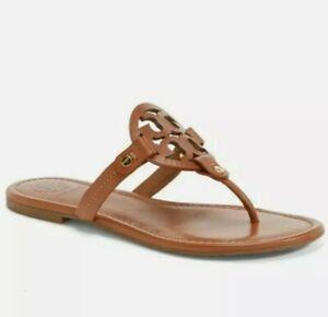 Tory Burch Miller Logo Flip Flop Thong Sandals in Vintage Vachetta Leather sz. 7