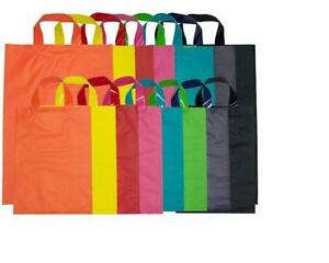 COLOURED PLASTIC CARRY BAG WITH FLEXI LOOP HANDLE LARGE x 50