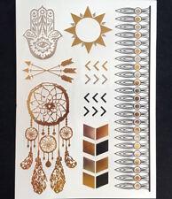 Flash Tatuaggio Mandala Temporaneo Metallico Oro Argento Einmal Bracciale Henna