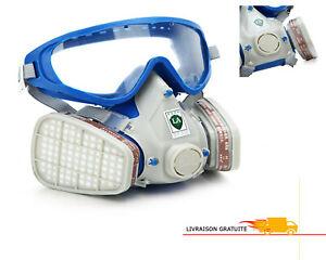 Protection Lunette Masque Chimique Bouclier Filtre Respirateurs Peinture Travail