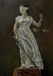 JUSTITIA (Lady Justice) Oil Painting on Canvas 20x14in by Marušić Art