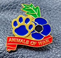 Purple poppy remembering animals of war paw pin badge We served together 2021