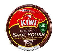 Kiwi Shoe Polish BROWN Rich Paste Shine Wax Leather Boot Protector Tin 45ml
