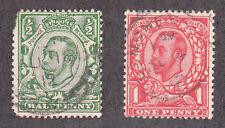 Great Britain - 1912 - Sc 153-54 - Used - 153 corner Nc