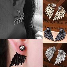 Fashion Gothic Women Angel Wings Earrings Rhinestone Crystal Ear Stud Jewelry