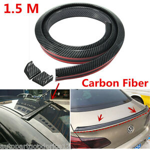 1.5M Universal Car Rear Trunk Spoiler Wing Carbon Fiber Soft Style Body Sticker