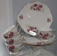8pc VTG Royal Vale Ridgway Cups & Luncheon Snack Plates Pink Flowers England