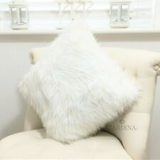 Zardina - Luxury Faux Fur Fluffy Scatter Cushion (White & Gold)