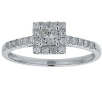 18ct White Gold  0.5ct Square Diamond Halo Ring - Size P RRP £1200 Deal
