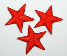 """Red star patches > pack of 3 > embroidered > iron-on > 1"""" (25mm) hand finished"""