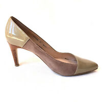 DIANA FERRARI Beige Olive Patent Leather Suede Wood Stiletto Pump Heels Size 7