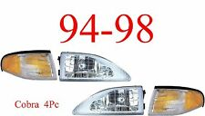 94 98 Mustang Cobra 4Pc Head Light & Park Light Kit, Ford, Complete Assemblies