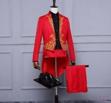Mens Suit Evening Performance Gold Embroidery Tuxedo Dress Formal Coat&Pants New