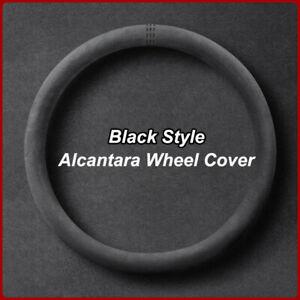 "Universal 15"" Black Marke Black Suede Alcantara Leather Car Steering Wheel Cover"