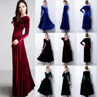 Women V Neck Long Sleeve Velvet Cocktail Party Evening Long Maxi Dress Plus Size