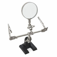 Helping 3rd Hand Soldering Iron Hobby Tool w/ Vise Clamp & Magnifying Glass New