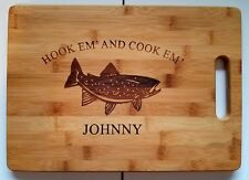 Personalized Hookem and Cookem Trout Fishing Bamboo Cutting Board Christmas Gift