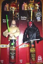Star Wars Darth Maul qui-Gon Jinn Episode 1 Duelling Action BATTERIA Lolly