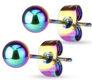 *NEW & SEALED - Rainbow Titanium 3mm Ball Stud Pair Earrings