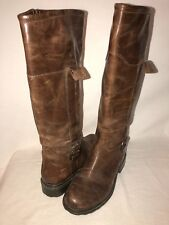GEOX Ortisei ABX D1348A Womens 39 US 9 Oiled Leather Riding Boot Lug Sole Coffee