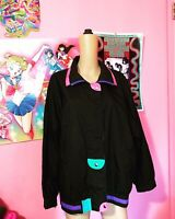 Size 16W Vintage 80s 90s Neon Color Block Windbreaker