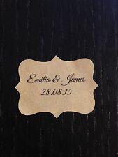 28 x VINTAGE Kraft Brown Wedding Paper Sticker Labels Personalised ITALIC