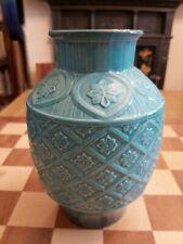 More details for vintage 1950s turquoise ceramic model 2392 ovoid impressed vase beswick 18.5cm