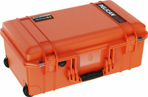 New Push Button Orange Pelican 1535 Air No Foam. Wheels and Carry on.