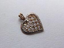 9ct gold Heart Pendant, openwork design, white gold border 9k 375
