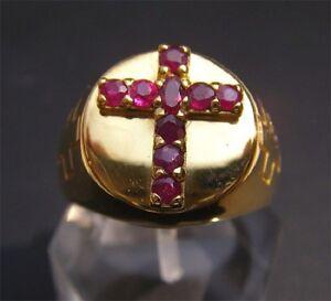 Bishop Apostle 18K Gold Ruby Cross Ring