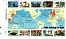 UNITED STATES MINT SHEET WORLD WAR II 1943 TURNING THE TIDE