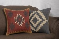 Set Of 2 Indian Kilim Rug Cushion Handwoven Jute Moroccan Cushion Covers 8157