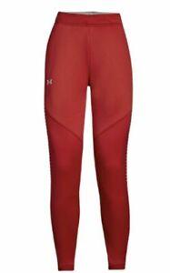 NWT $70 Under Armour Coldgear Womens Knit Warm-up Pants 1327445-625 Burgundy L