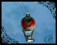 Marvel sterling silver / faux leather necklace with Venom charm. (Spiderman)