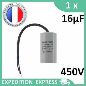 Condensateur moteur 16µF 16uF 450V à fils câble CBB60 démarrage/permanent