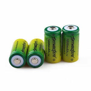 4pcs SKYWOLFEYE 1800mAh 16340 Battery CR123A 3.7V Rechargeable Li-Ion Bat Cell