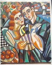 """Samuel Veksler B 1966 cubista pintura al Óleo Lienzo Original Firmado 'mi guitarra"""""""