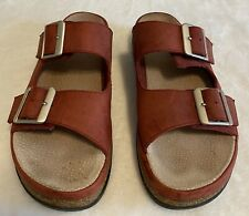 BASS Women's Red LEATHER Cork SLIP ON Adjustable Buckle SANDALS SHOES Size 8M