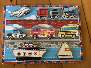 Melissa and Doug * Vehicles Chunky Puzzle * thick easy-grasp wooden