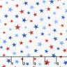 All Star Hockey Fabric by Northcott Red Blue Stars on White Premium Cotton