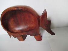 Vintage Armadillo Animal Unique Wood Candy Nut Bowl